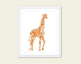 Giraffe Art Print - Floral Pattern Wall Art - Modern Home Decor - Tangerine Orange - African Animal Nursery Decor - 8x10