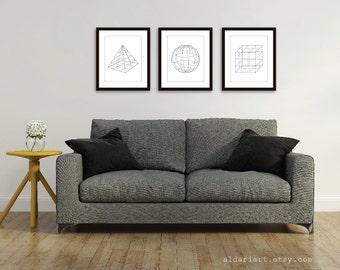 Geometric Shapes Art Prints - Pyramid Sphere Cube Geometric Art Prints  Set of 3 - Modern Home Decor - Grey and White - 3D Shapes