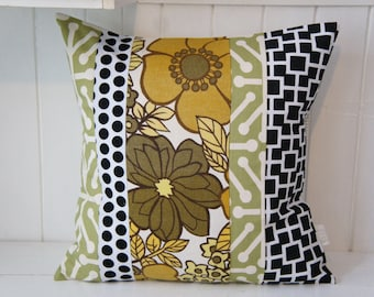 Patchwork Pillow Cover, 20x20, green, gold, black