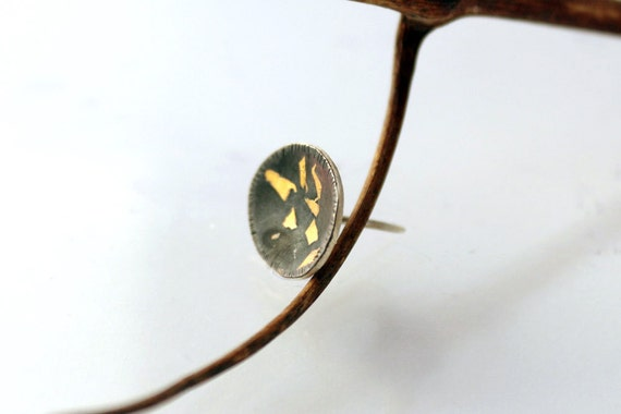 Keum boo sterling silver and 24k gold tie tack , tie pin unique gift for him father of bride/groom gift