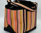 Large Long Handled (Over the Shoulder) Canvas Tote - Uneven Striped Print - Orange, Green, Yellow, Pink and Black
