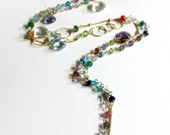 36 Inches of Gemstones, Semi Precious and Precious with 14K Filled Chain and All Hand Wrapped  14K Gold Filled Wire - Artisan Handmade