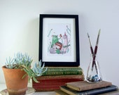 Afternoon Song - ORIGINAL framed artwork - musical whimsical garden illustration - girl friendly beast friends animals creatures singing