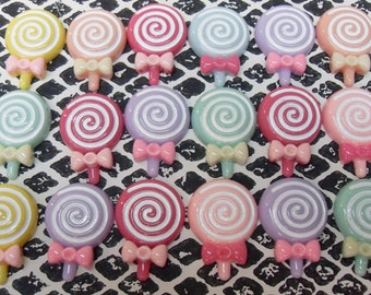 8x Cute Swirly Lollipop Cabochons with Bow Pastel Colours