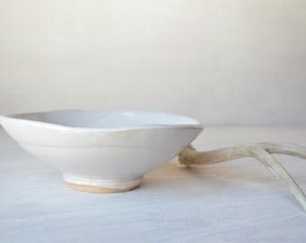 White Ceramic Bowl, Handmade Stoneware Bowl, READY TO SHIP