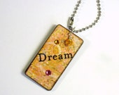 Decoupaged Yellow Keychain Rectangle Wood Key Chain Stocking Stuffer Gift for Her Swarovski Crystal Embellished Small Gift for Her Under 10