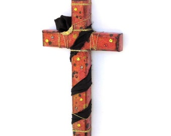Contemporary Wall Cross Christian Art Decoupaged Religious Christian Teen Youth Cross Punk Grunge Mixed Media Contemporary Cross Easter Gift
