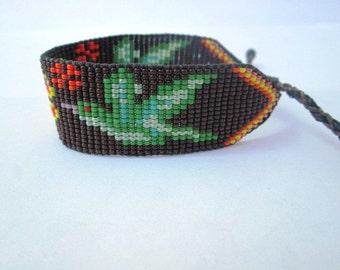 Brown and Green Beaded Hummingbirds and Flower Bracelet