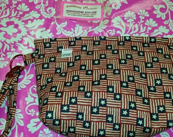 Stars - Stripes - Patriotic - Small Wristlet Purse - Red Cotton Interior - Blue Jean Zipper - Made in U.S.A.
