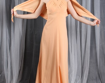 Dress Maxi Gown 1970s Vintage 70s Orange Sherbet  Dress and Wrap S Small