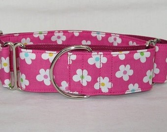 LAST ONE SALE Pink Tutti Frutti Martingale Dog Collar - 1.5 Inch - fun cute flowers floral yellow green