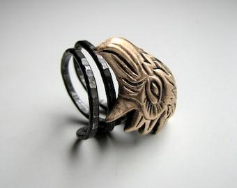 Unique mens ring, eagle rustic ring