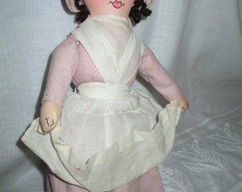 Antique Cloth Doll/Old Doll/Rare Doll/Shaker Historical Society Cloth Doll c.1940's by Gatormom13 JUST REDUCED