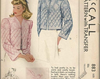 1940s Film Noir Bed Jacket Lingerie Quilted Round or V Neckline McCall 883 Unused FF Size Small Bust 30-32 Women's Vintage Sewing Pattern