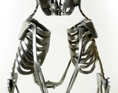 Zombie Skeleton Kissing Lovers Metal Sculpture