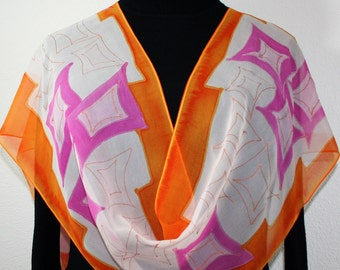 Orange, Pink, Beige Chiffon Silk Scarf STRAWBERRY PEACH Size 11x60. Birthday Gift. Bridesmaid Gift.