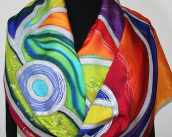 Red Silk Scarf. Lime Hand Painted Scarf. Blue Handmade Silk Shawl BOHEMIAN CHIC Luxurious Big 22x90. Birthday, Bridesmaid Gift. Gift-Wrapped
