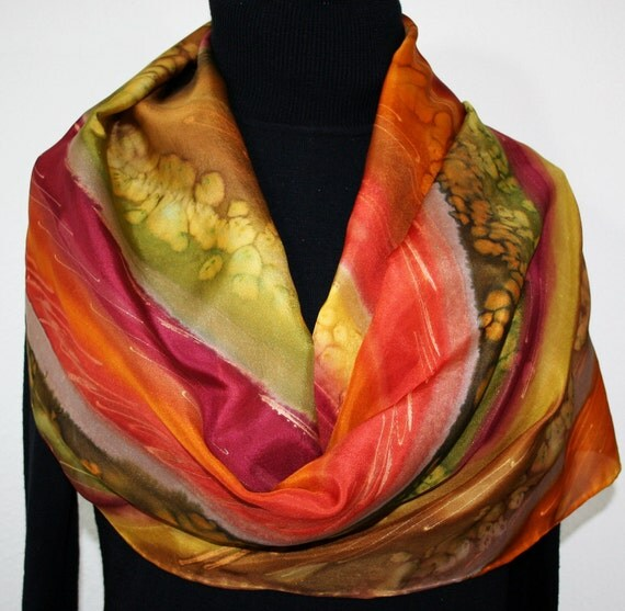 Brown Silk Scarf. Red Hand Painted Scarf. Olive Handmade Silk Shawl  INDIAN PRAIRIE. Bridesmaid Gift. Gift-Wrapped. Offered in Several SIZES