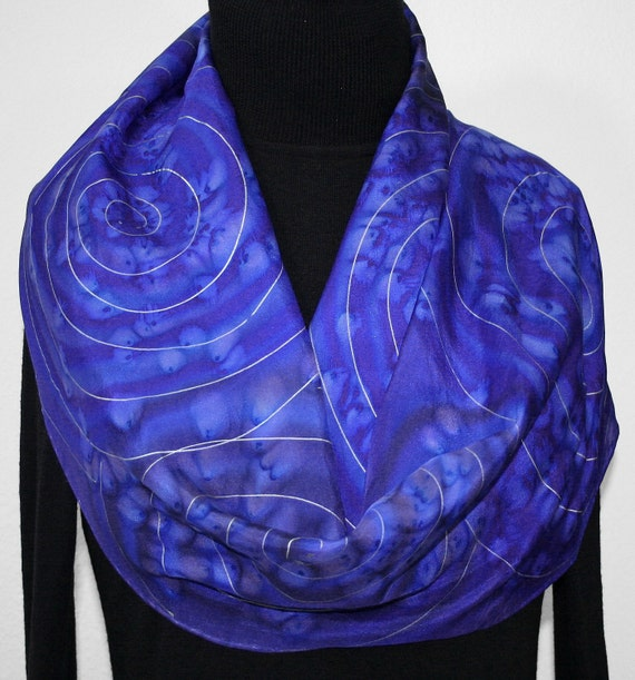 Silk Scarf Hand Painted Silk Shawl Periwinkle Blue Hand Dyed Silk Scarf SPACE STORY. Anniversary, Birthday Gift. Gift-Wrapped. Several SIZES