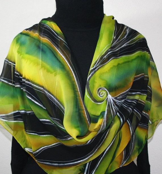 Black, Yellow, Green Hand Painted Silk Shawl Golden Firebird. Luxurious Big Scarf 22x90. Silk Scarves Colorado Anniversary Gift, Mother Gift