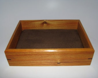 """Valet Box in Canarywood. Wooden Tray. 8.75"""" x 6.75"""" x 2"""". Dresser Box. Remote Tray. Coffee Table Tray."""