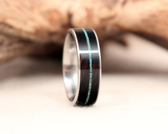 African Blackwood Wood Ring with Turquoise and Titanium