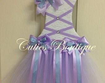 Tutu Dress Hair Bow Holder Lavender Blue