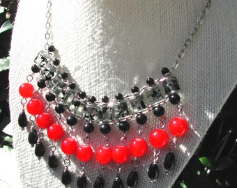 Statement Necklace Red and Black - Glass Beaded Bib Necklace - Holiday Jewelry - Christmas Necklace