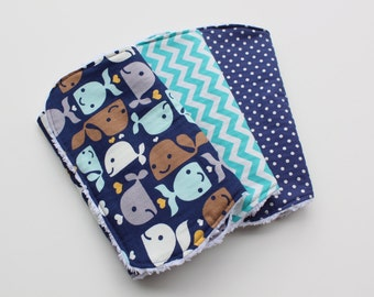 Boutique Baby Boy Burp Cloth Set - Set of Three Chenille Burp Rags - Whale Love, Teal and White Chevron, Navy and Silver Polka Dots