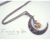Moon Globe necklace. Glass bottle pendant moon Necklace moon Bronze necklace miniature bottle glass vial pendant CUSTOM Glitter STARS COLOR.