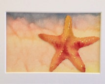 Starfish by the Sea, ORIGINAL watercolor painting  beach art collage, child's decor for children's room, 5x7 matte