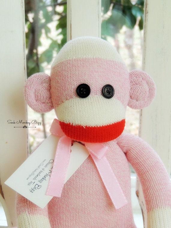 Sock Monkey Doll, Pink Sock Monkey