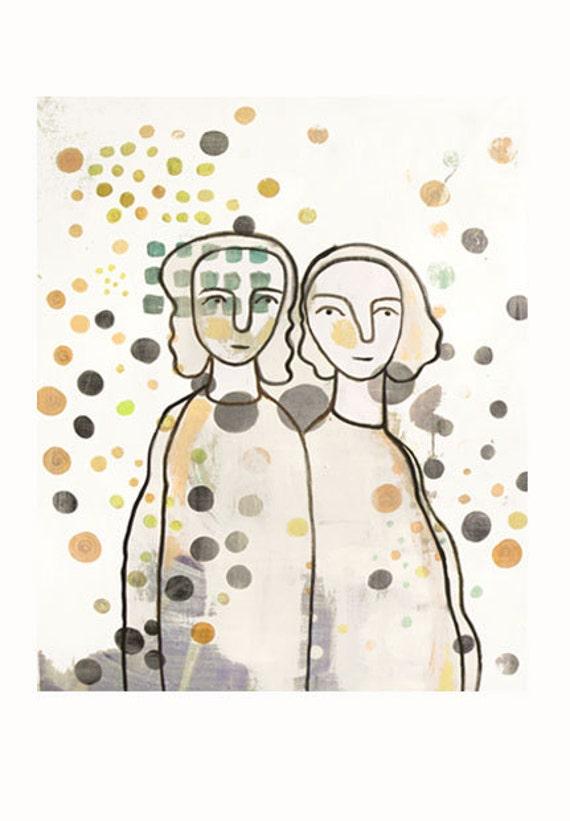 Illustration Portrait two friends art print Giclee  - Mother daughter - friendship  dots print sisters Gemini twins