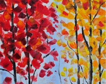 Autumn Walk-FINE ART PRINT Abstract Contemporary Tree Oil Painting