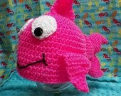 Crocheted Hot Pink Fish Hat Photo Prop Newborn to Adult Custom Colors