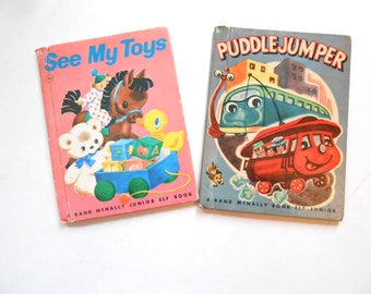 See My Toys and Puddle Jumper, Two Vintage Children's Books, 1940s