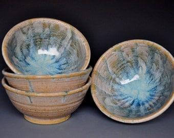 Small Yogurt Bowls Ceramic Pottery Milky Blue