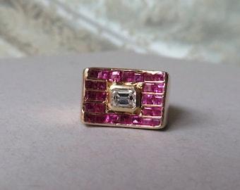 True Retro Ladies Rose Gold Emerald Cut Diamond & Ruby Ring  .35 carat 14k