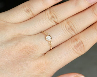 Tiny Diamond Ring in 14K Gold Filled , Quality CZ Stone Ring , Gold Diamond Ring , Clear Stone Ring , Stackable Ring , Gold Chain Ring