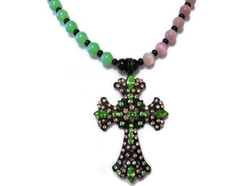rhinestone cross necklace, pink and green cut glass beads, one of a kind, unique, religious jewelry, Easter holidays