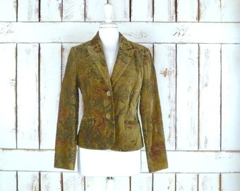 Vintage brown floral chenille tapestry blazer/short fitted tapestry jacket