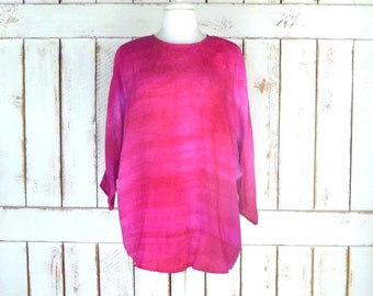 Vintage bright fuchsia pink tye dye ombre blouse/dolman sleeve cover up/silky boho hippie shirt