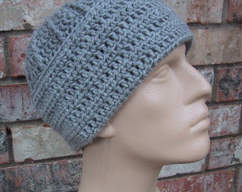 Price Reduced 20% - Gray Mens Hat - Beanie - Hand Crocheted - Soft Acrylic Yarn - Handmade - Warm Winter - Men Size Large - Ready to Ship