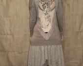 lace crochet open back t-shirt long sleeve size S/M