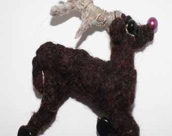 Christmas Deer Brooch / tree decoration dasher dancer prancer vixen donner blitzen rudolph