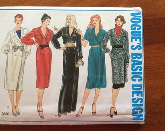 80s Vogue Basic Dress Design 2320 Dress Double Breasted or Tunic and Skirt Size 16 Bust 38