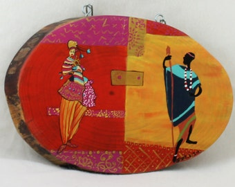 Unusual Wall Hanging African décor, Picture on Wood