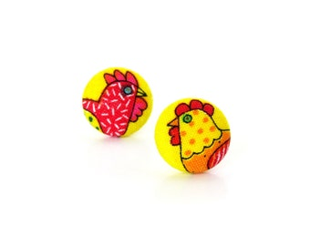 Funky chicken earrings -  small earrings for kids - tiny kawaii earrings - children yellow hen cock