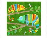 Striped Chameleons Art Print
