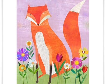 Fox in Flowers, Giclee Art Print, Nursery Decor